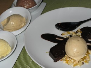 Ovaltine, Cinnamon Toast, Salty Popcorn Ice Cream with Chocolate Cake